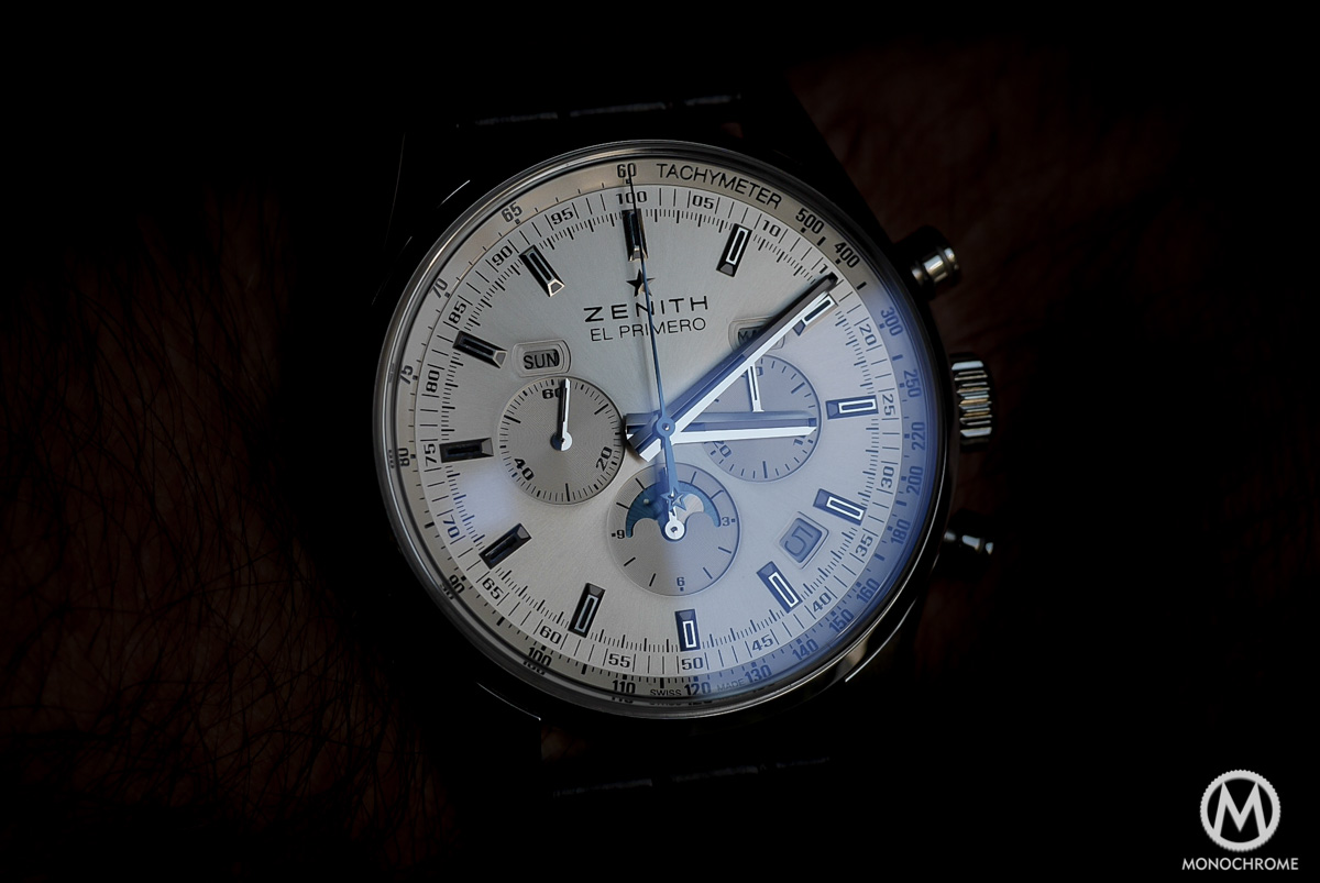 Zenith El Primero 410 Triple Calendar and MoonPhase Chronograph - dial and hands