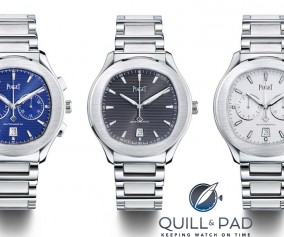 """Piaget Polo S chronographs flanking what the brand calls the """"time only"""" with brown dial"""